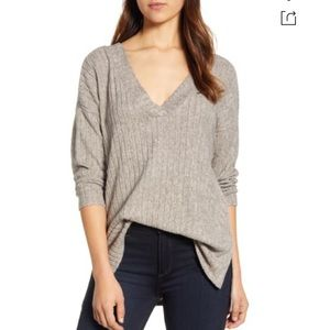 BRAND NEW Ribbed Knit Double V-neck Top In Oatmeal